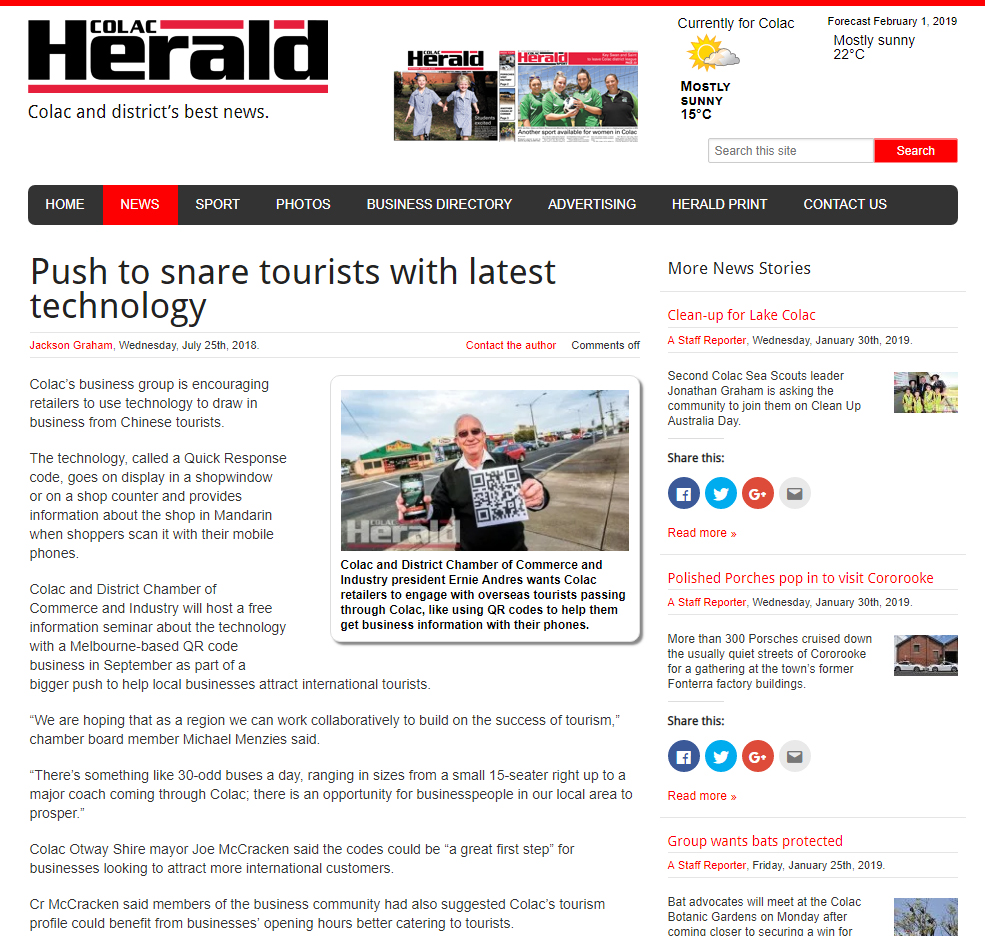 Colac Herald - Push to snare tourists with latest technology